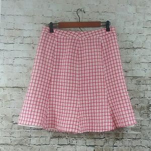 vintage skirt pink white red print lined 10 m/l